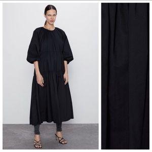 NWT. Zara Asymmetric Poplin Dress. Size L.